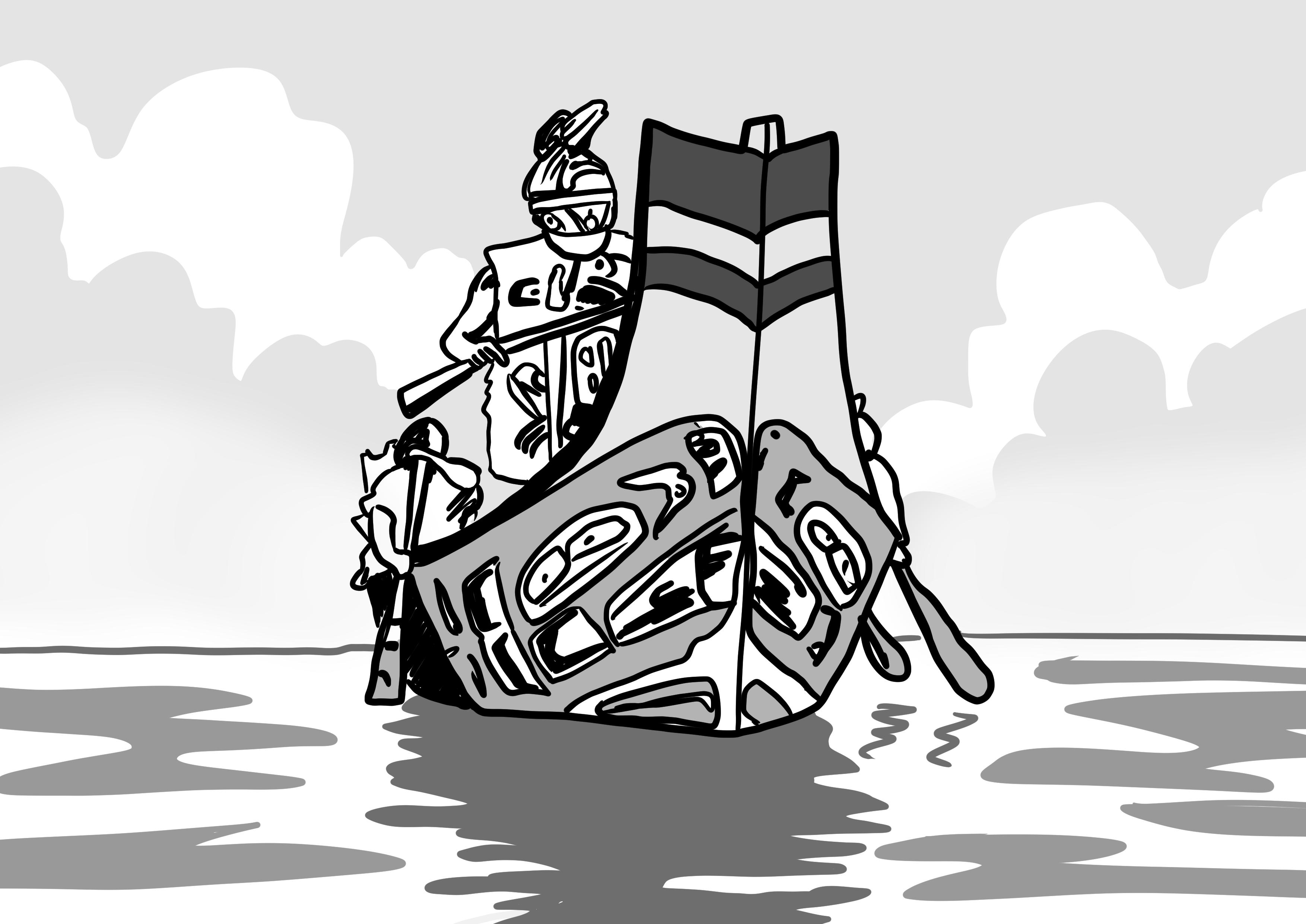 Sketch - Mowachaht war canoe