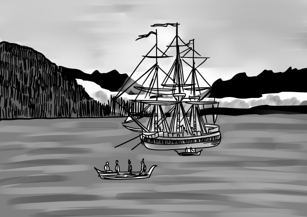 Sketch - The Boston arrives at Nootka